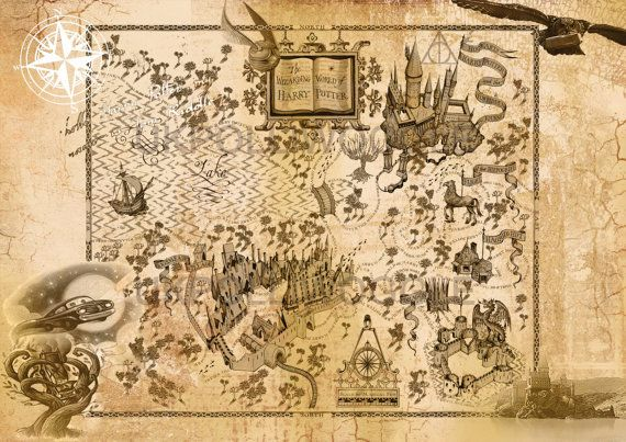 Wizarding world of harry potter map Inspired by PolliwoggleDesign ...