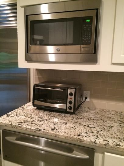 New Microwave Installled With Old Trim Kit Countertop Microwave