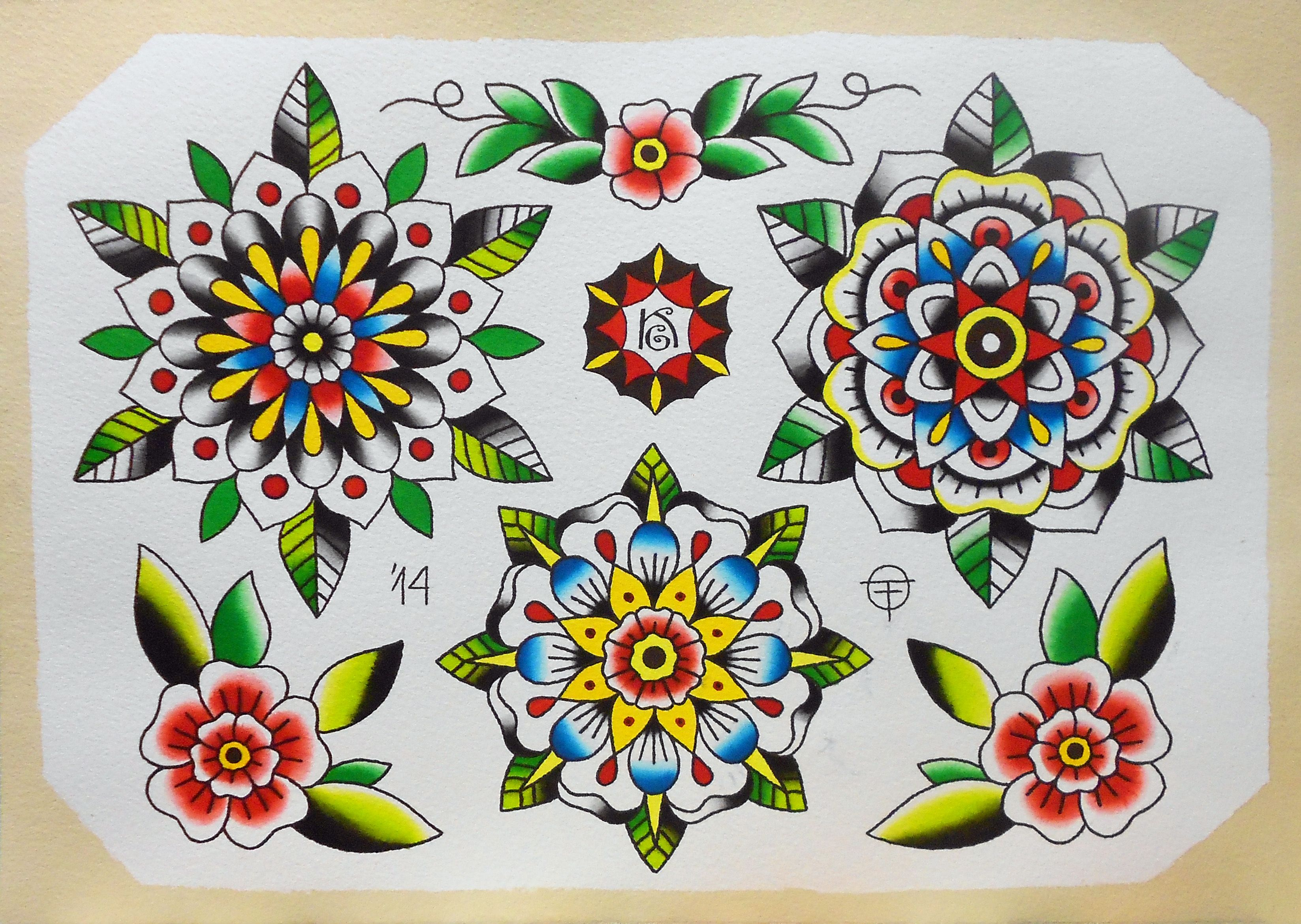 flower mandala oldtimetattoo tattoo tattoos watercolor ...