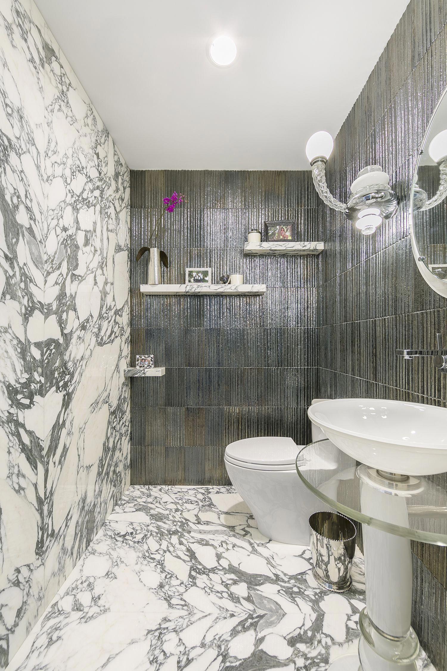 Artistic Tile Michael Aram Gotham Steel Walls With Arabescato Corchia Italian Marble Floor And Wal Italian Marble Flooring Green Marble Bathroom Marble Floor