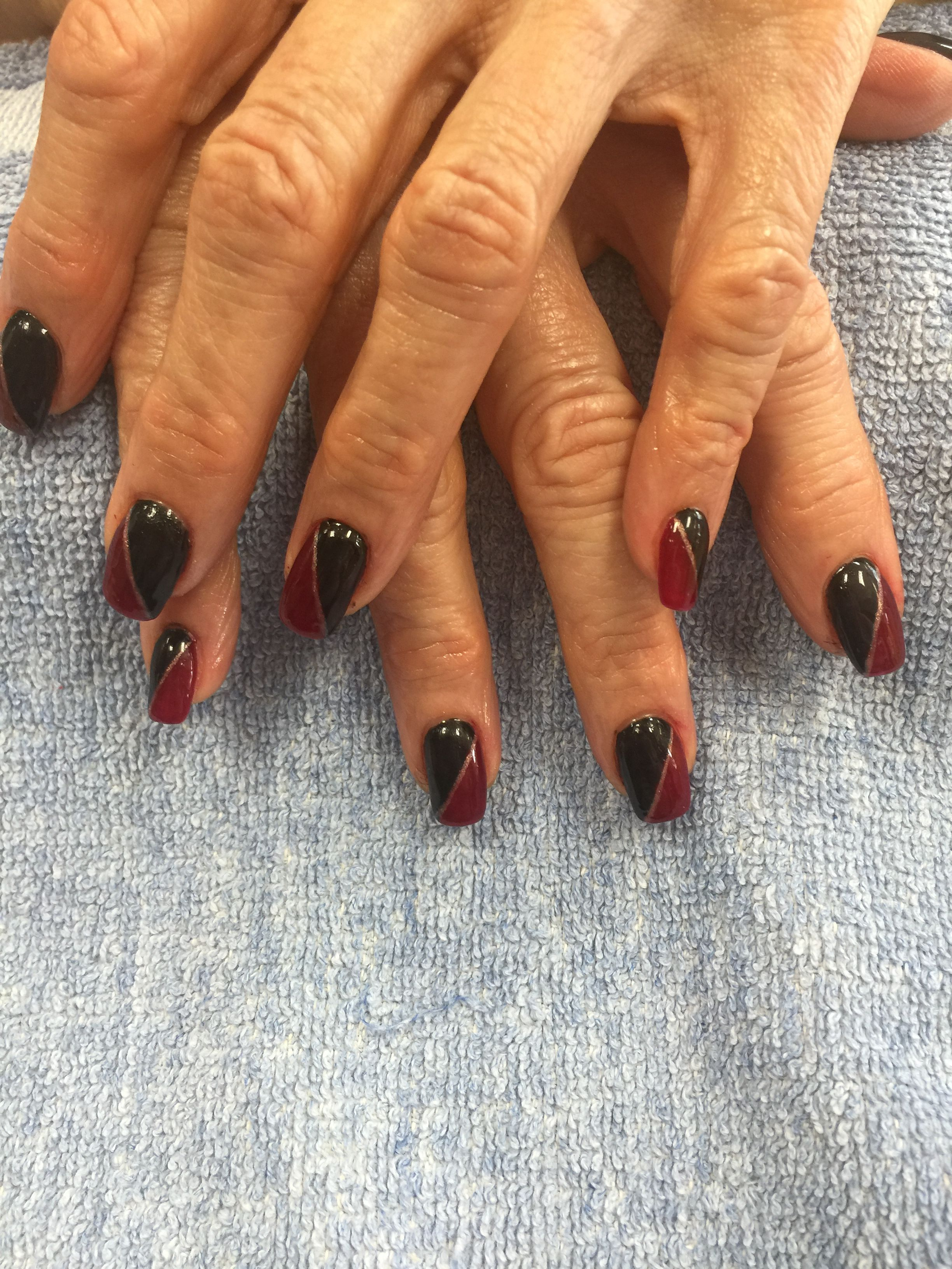 Black and dark red nails design by Kayla Le | Nails designs ...