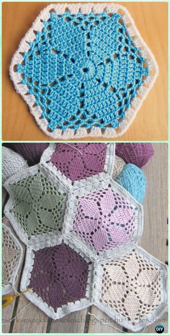 Crochet Granny\'s Garden Flower Hexagon Motif Free Pattern - #Crochet ...