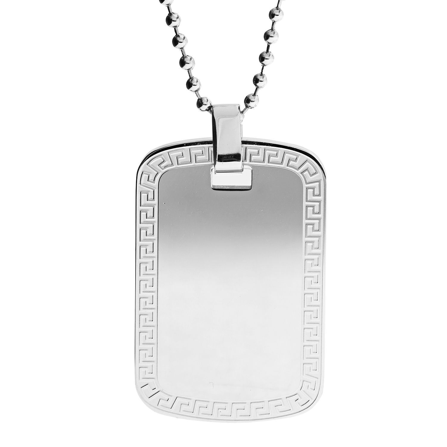 Stainless Steel Men's Greek Key Dog Tag Necklace
