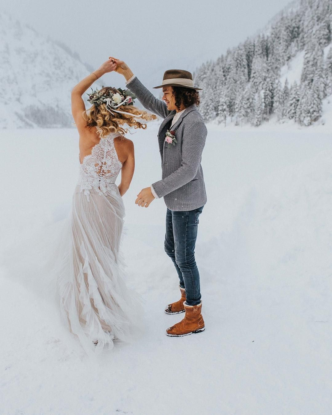 "171d9e833189a9 Pronovias on Instagram  ""Getting married in winter wonderland  Better in  Draconia dress  PronoviasFeelings Styled shoot by   farbklangphoto"""