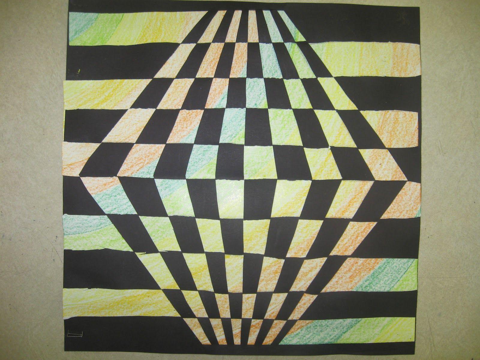 Op art uses color to create - Miss Young S Art Room 6th Grade Op Art Paper Weaving