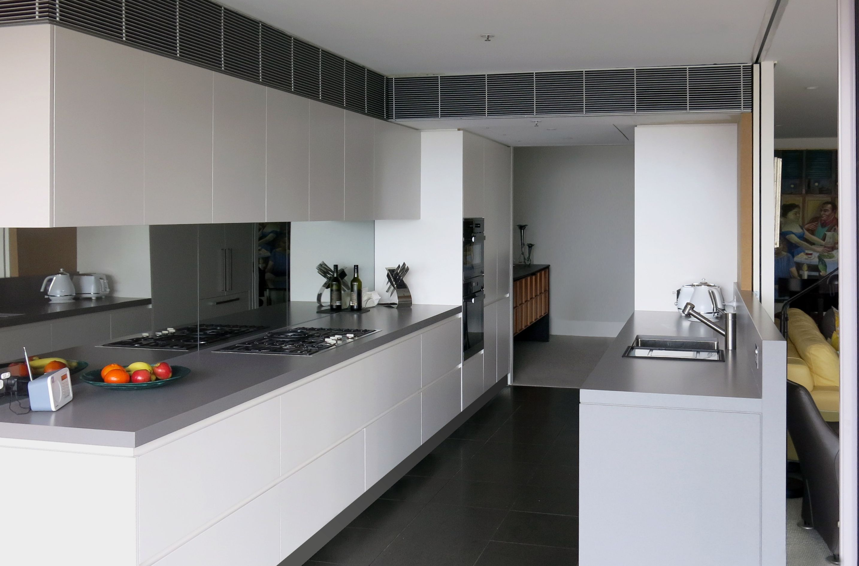A Gelosa Kitchen Finished In White Satin Polyurethane Shadow Line Gris Expo Benchtop From Silestone Kitchen Renovation Kitchen Design Taupe Kitchen