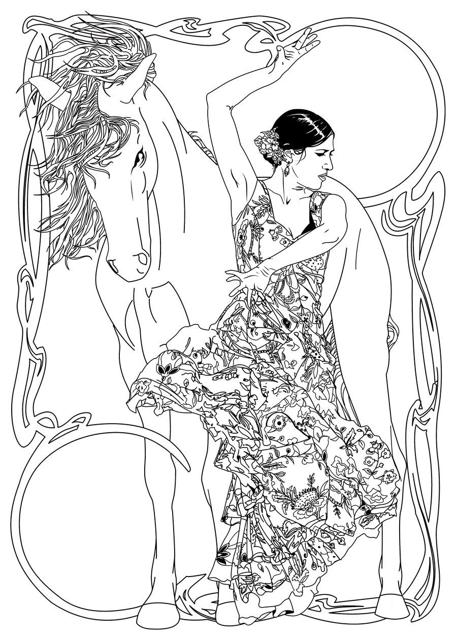 spanish coloring pages for adults | belly dancers coloring pages | Spanish Dancer by RyanRoma ...