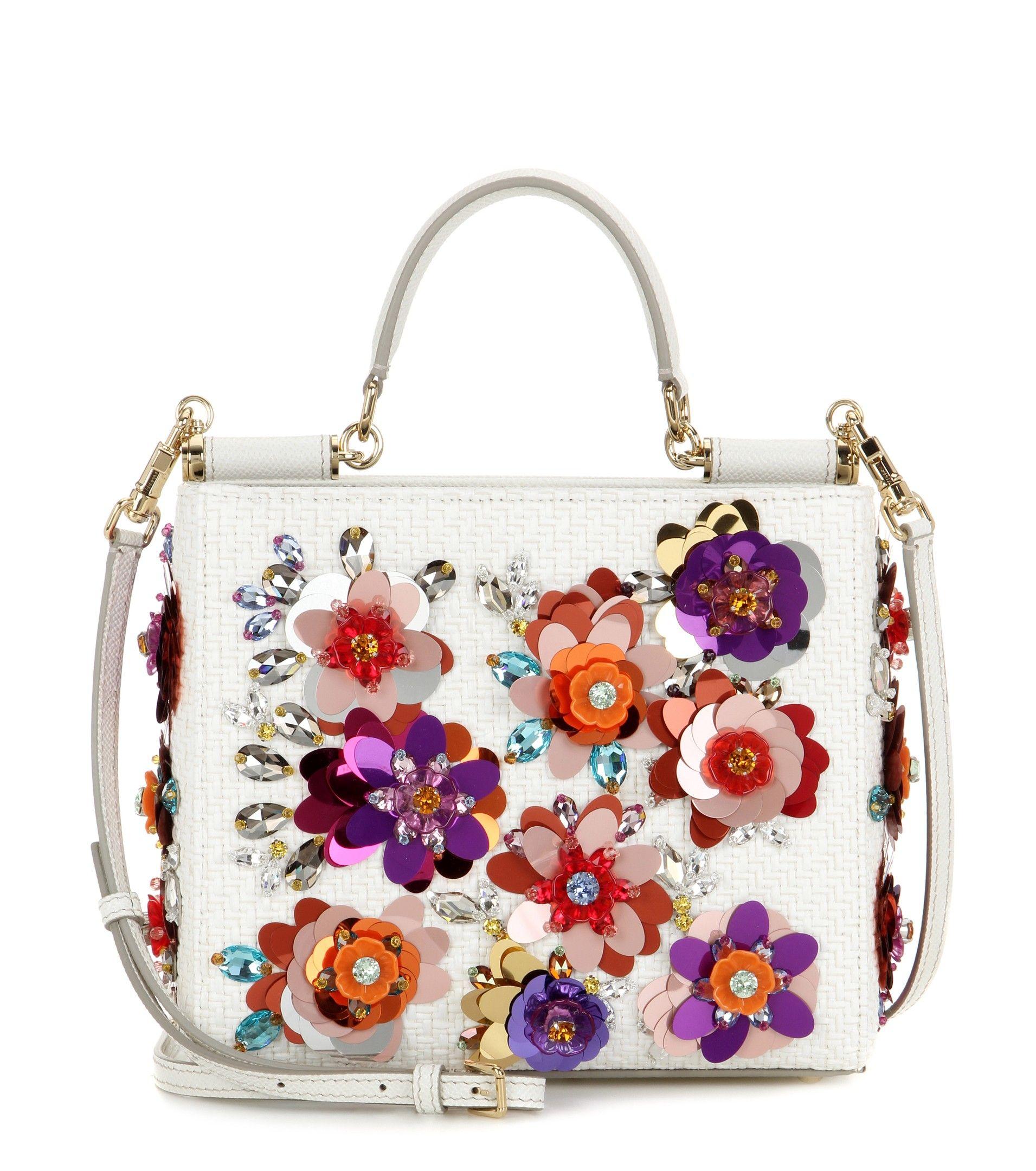 95288475489d DOLCE   GABBANA Embellished raffia shoulder bag