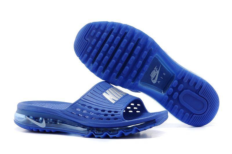 5b22362b05c2 Nike Air Slippers Grey Silver Dark Royal Blue