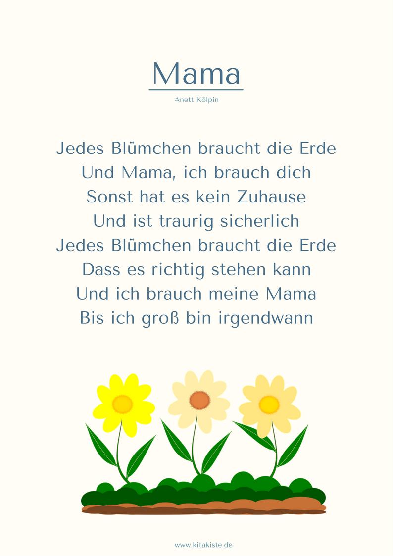 """Mama"""" Muttertag Gedicht Kita Kitakiste"""