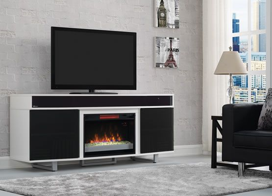 Enterprise Tv Stand In White With Built In Bluetooth Speaker Bar Love The Modern Loo Fireplace Tv Stand Fireplace Entertainment Center Fireplace Entertainment