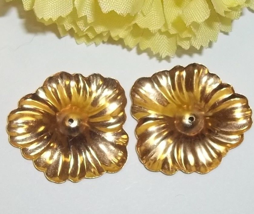 Vintage 14k Yellow Gold Hibiscus Flower Earring Jackets Jewelry 1 Long Earring Jackets Flower Earrings Gold Flowers