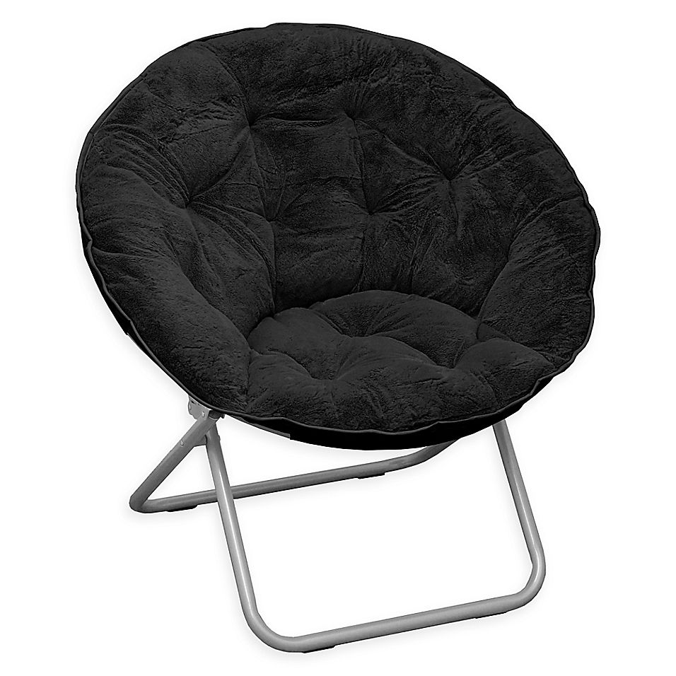Folding faux rabbit fur club chair in black in 2020 club
