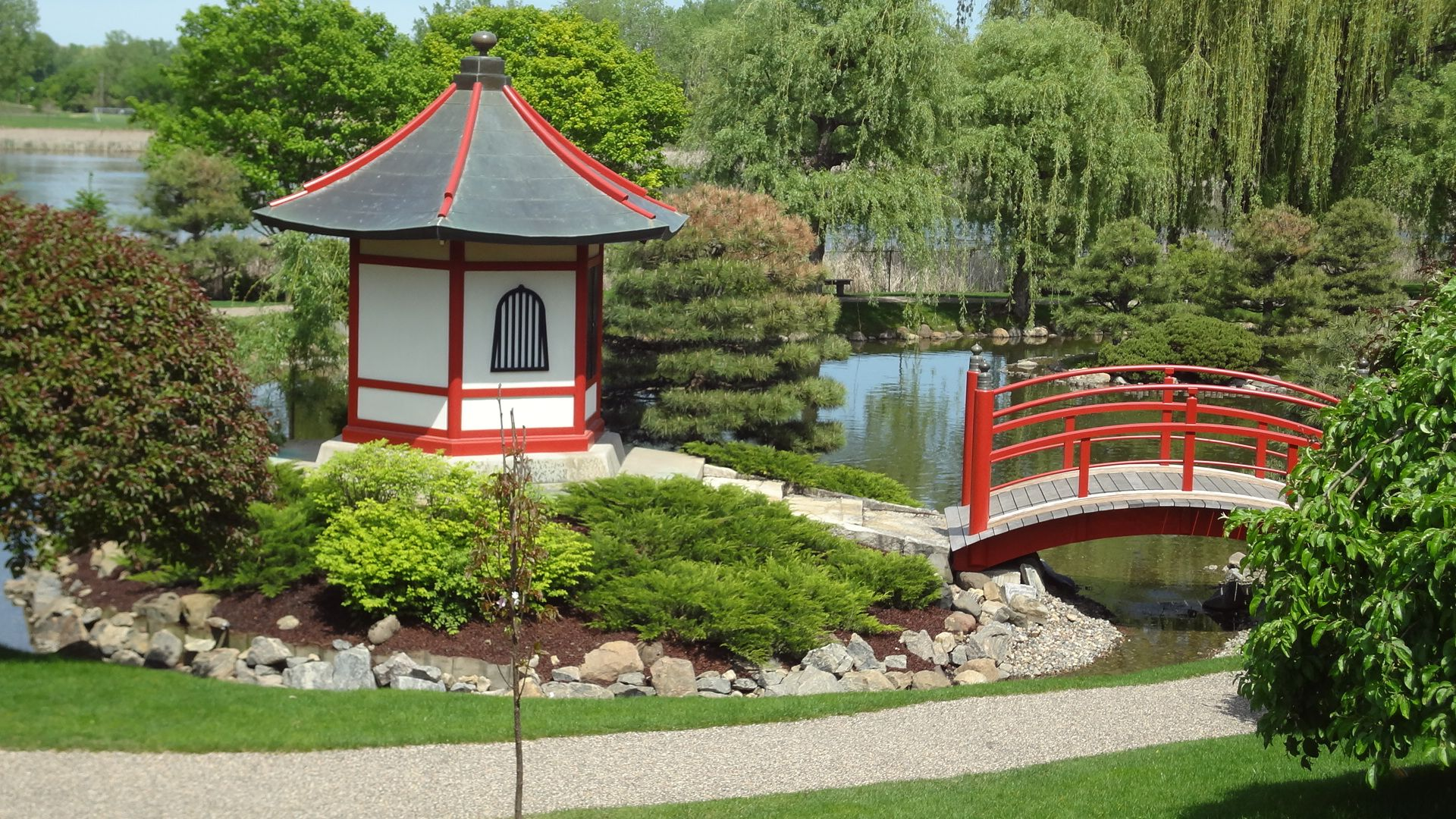 Japanese Garden And Bridge At Normandale College In Bloomington, MN