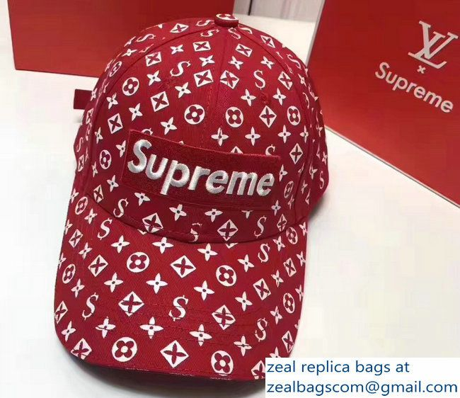 Louis Vuitton Supreme Cap Red 2017