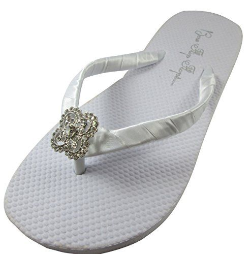 Bridal Flip Flops Wedding Ivory Wedge White Platform Bride Square Filigree Heel Satin Rhinestone