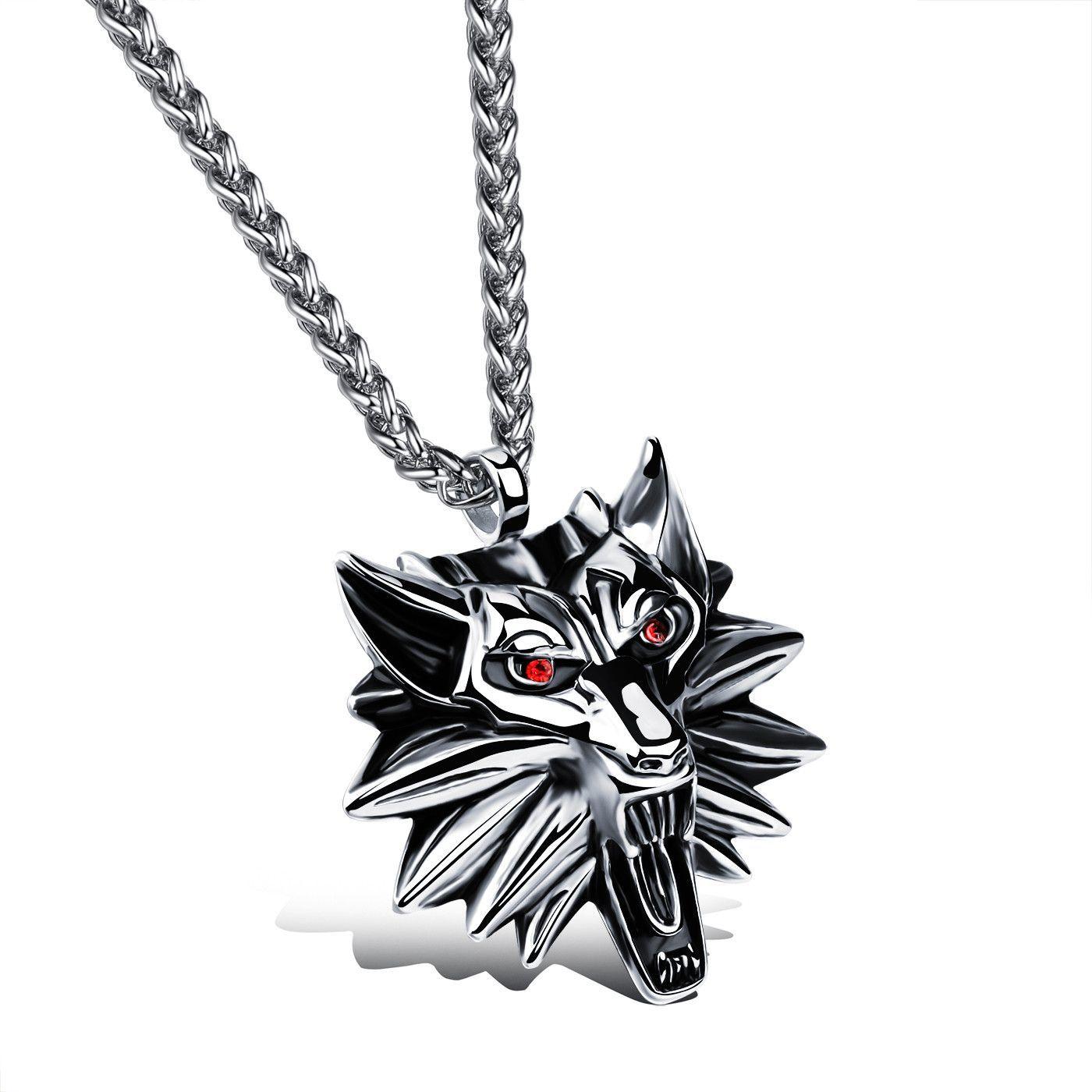 Buy red eyes domineering wolf head pendant manus beast titanium