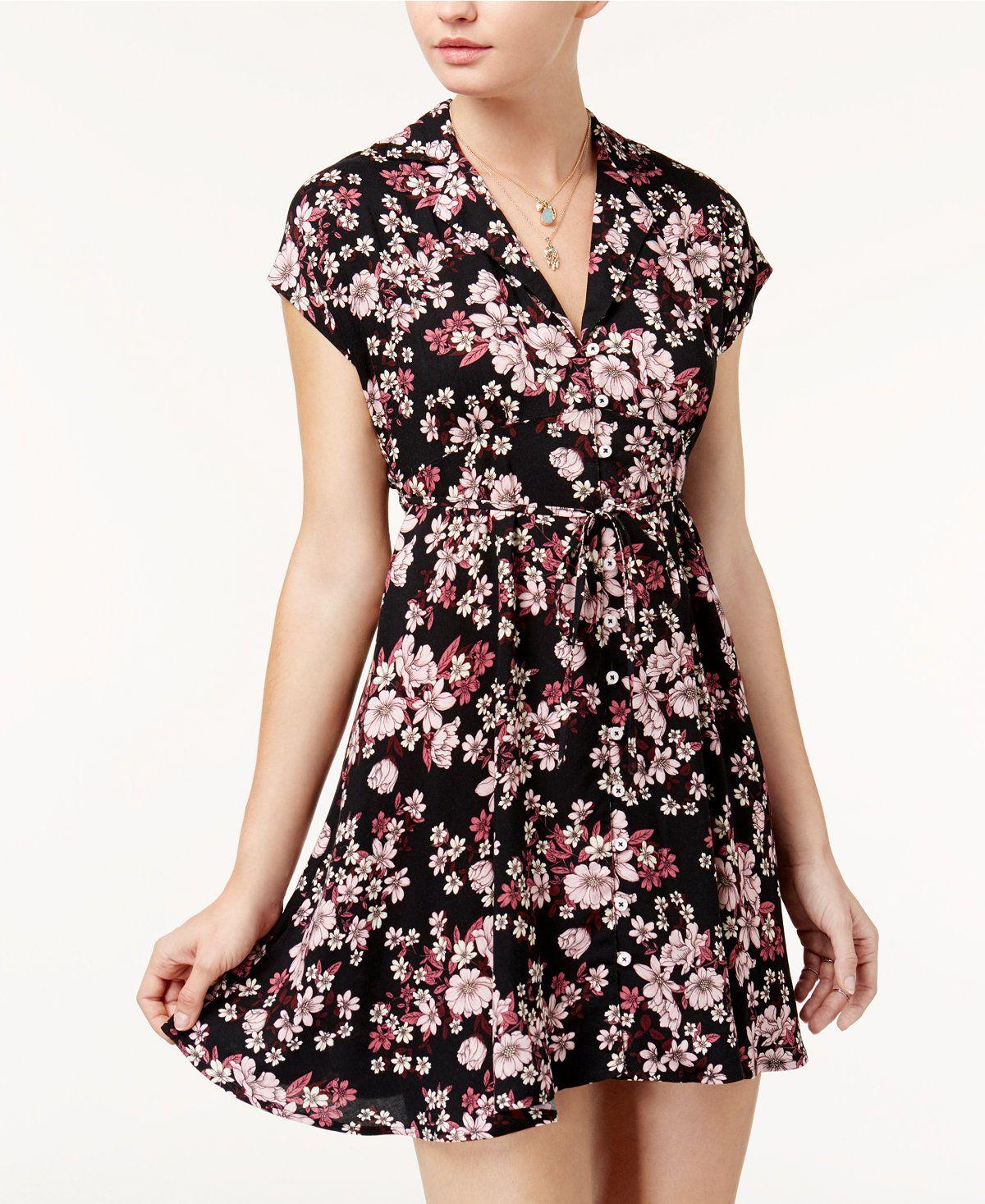 97649358b2ff American Rag Juniors  Floral-Print Shirtdress