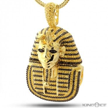 King Tut egyptian yellow gold hip hop jewelry pendant Hip Hop