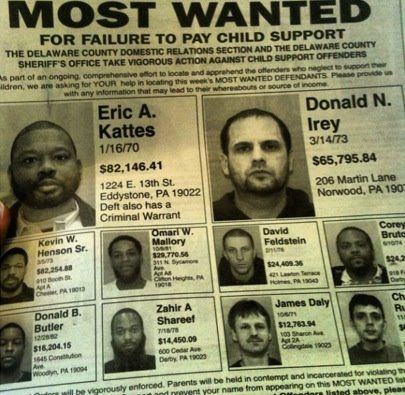 Dead Beat Fathers Listed In The Delaware County Newspaper