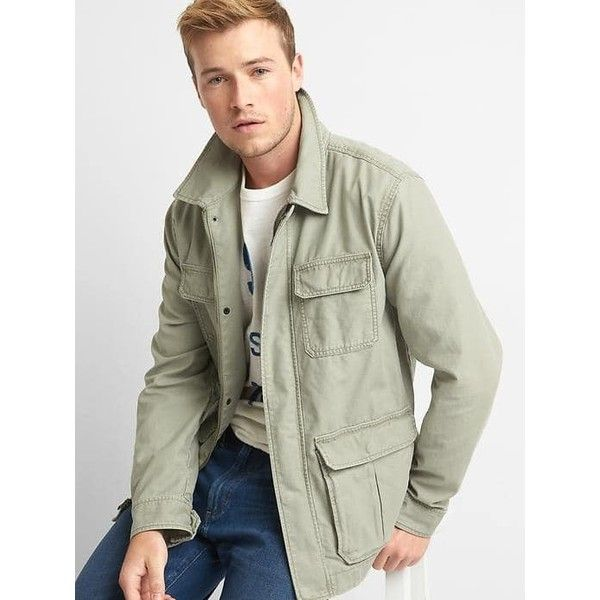 Gap Men Cotton Fatigue Jacket ($69) ❤ liked on Polyvore featuring ...
