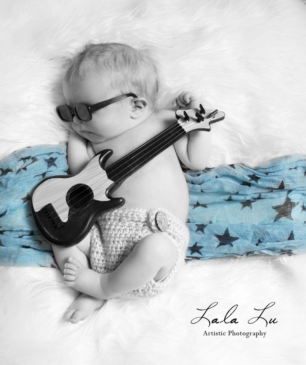 Baby Boy Neck Tie Guitars Photo Prop Birthday Cake Smash Modern Little Rockstar