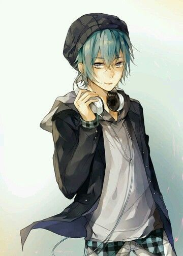 Anime Boy Male Blue Green Headphones Cute Anime Guys Hot Anime