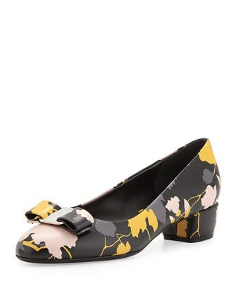 368382e0d1 Salvatore Ferragamo Vara Floral Leather Low-Heel Pump, Black $575.00  BGS16_S0F1N For in-store inquiries, use sku #11525385 Salvatore Ferragamo  floral-print ...