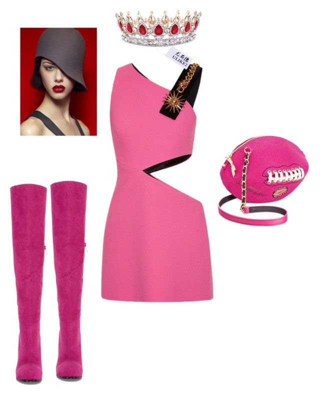 """PINK"" by tinaground ❤ liked on Polyvore featuring FAUSTO PUGLISI, Two Lips and Betsey Johnson"