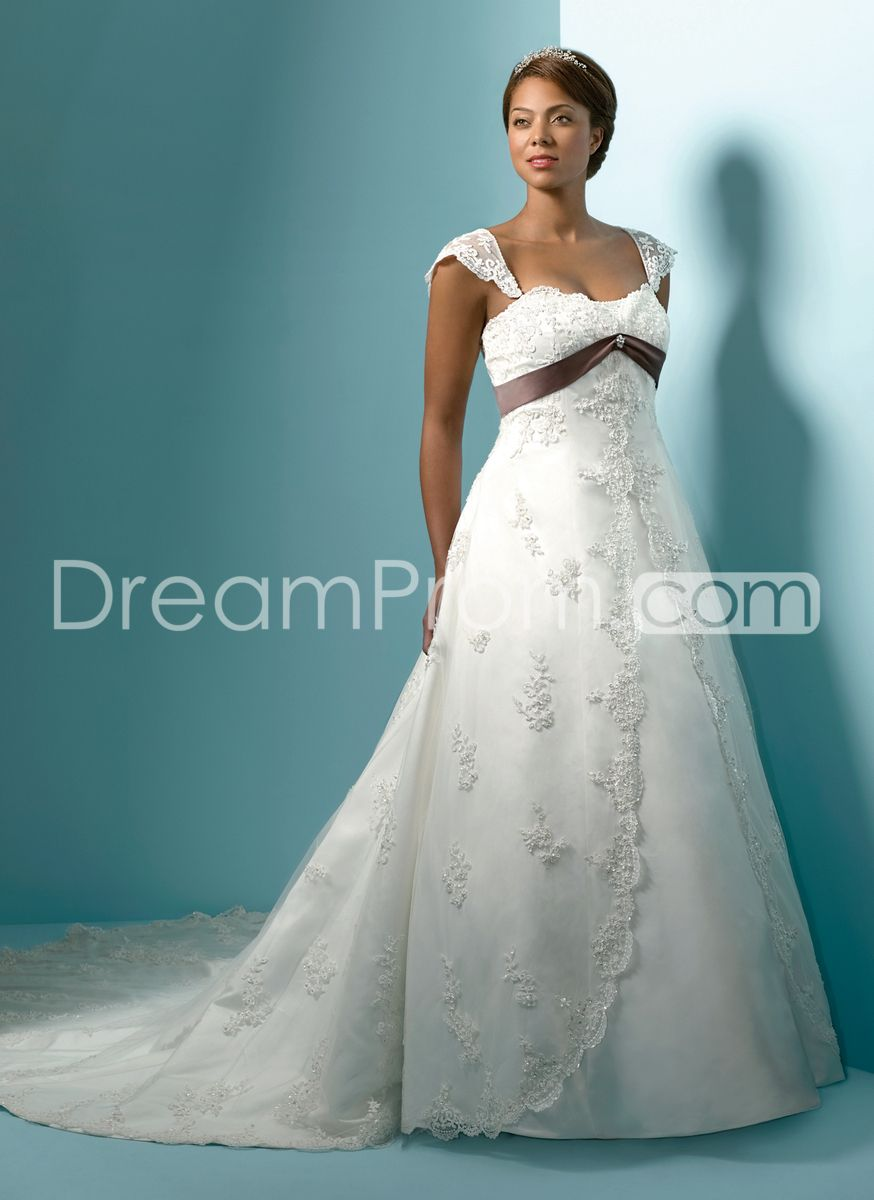 Delightful A Line Capped Sleeve Floor Length Chapel Appliques Sash Plus Size Wedding Dresses Wedding Dresses Formal Dresses For Weddings Bridal Gowns [ 1200 x 874 Pixel ]