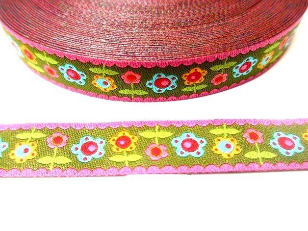 1 m bloomenWiese Webband 12 mm von StickTime auf DaWanda.com