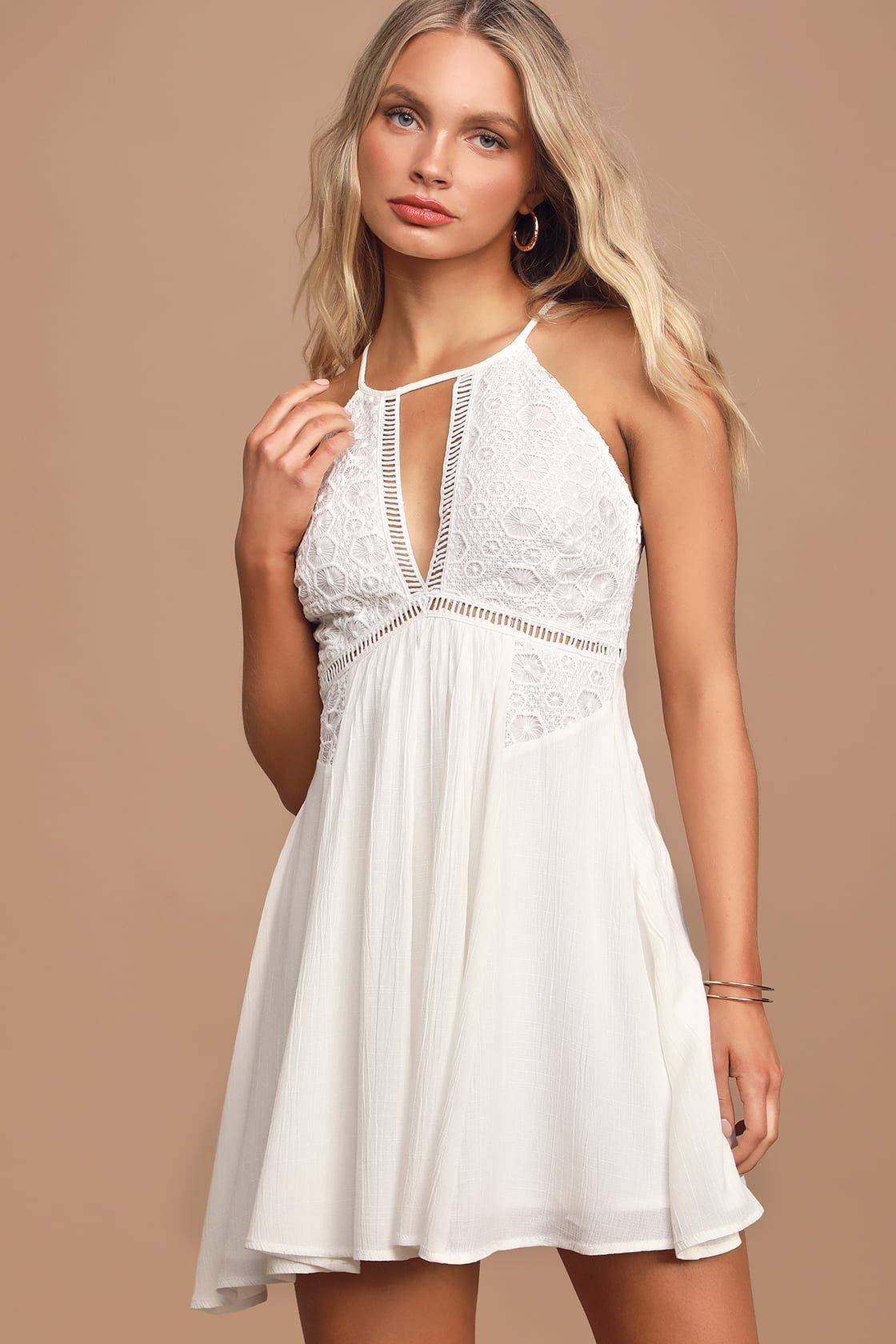 Whirlwind Summer White Crochet Lace Skater Dress Lace Skater Dress Casual Summer Dresses Sundresses Cute White Dress [ 1680 x 1120 Pixel ]