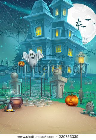 Holiday card with a mysterious Halloween haunted house, scary pumpkins, magic hat and cheerful ghost - stock photo