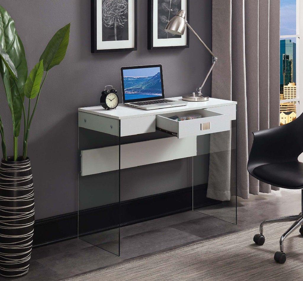 Soho Glass 36 Desk In White Convenience Concepts 131526w