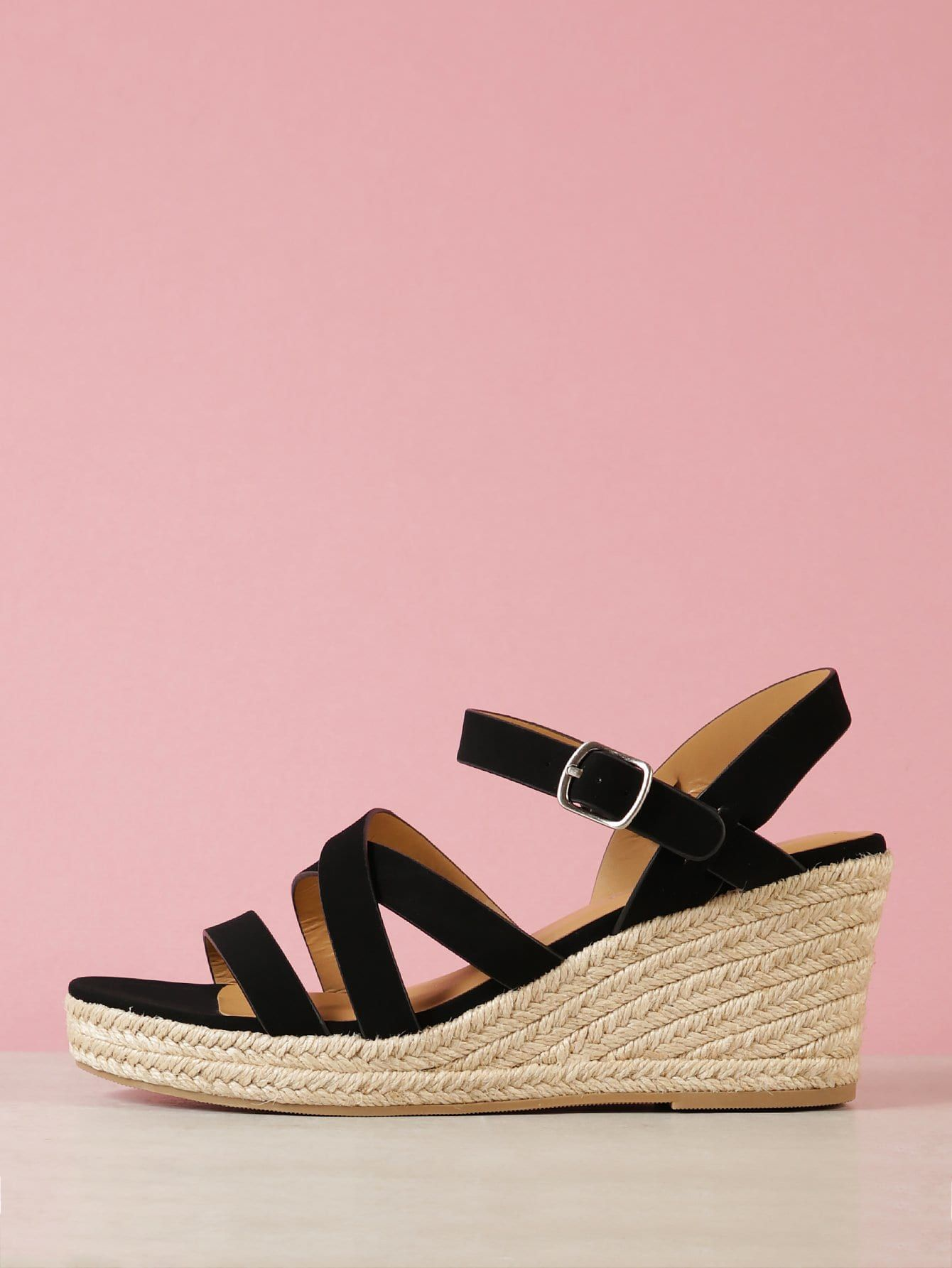 3008bd707e8 Elegant Peep Toe Strappy and Criss Cross Black High Heel Espadrille Strappy  Espadrille Platform Wedge Sandal