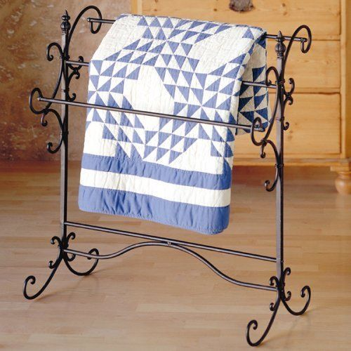 Iron Blanket Rack Wrought Rod Rustic Black Cast Iron Drying