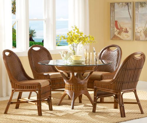 Rattan Kitchen Table: Coral Island Dining Table Set FromTickle Imports