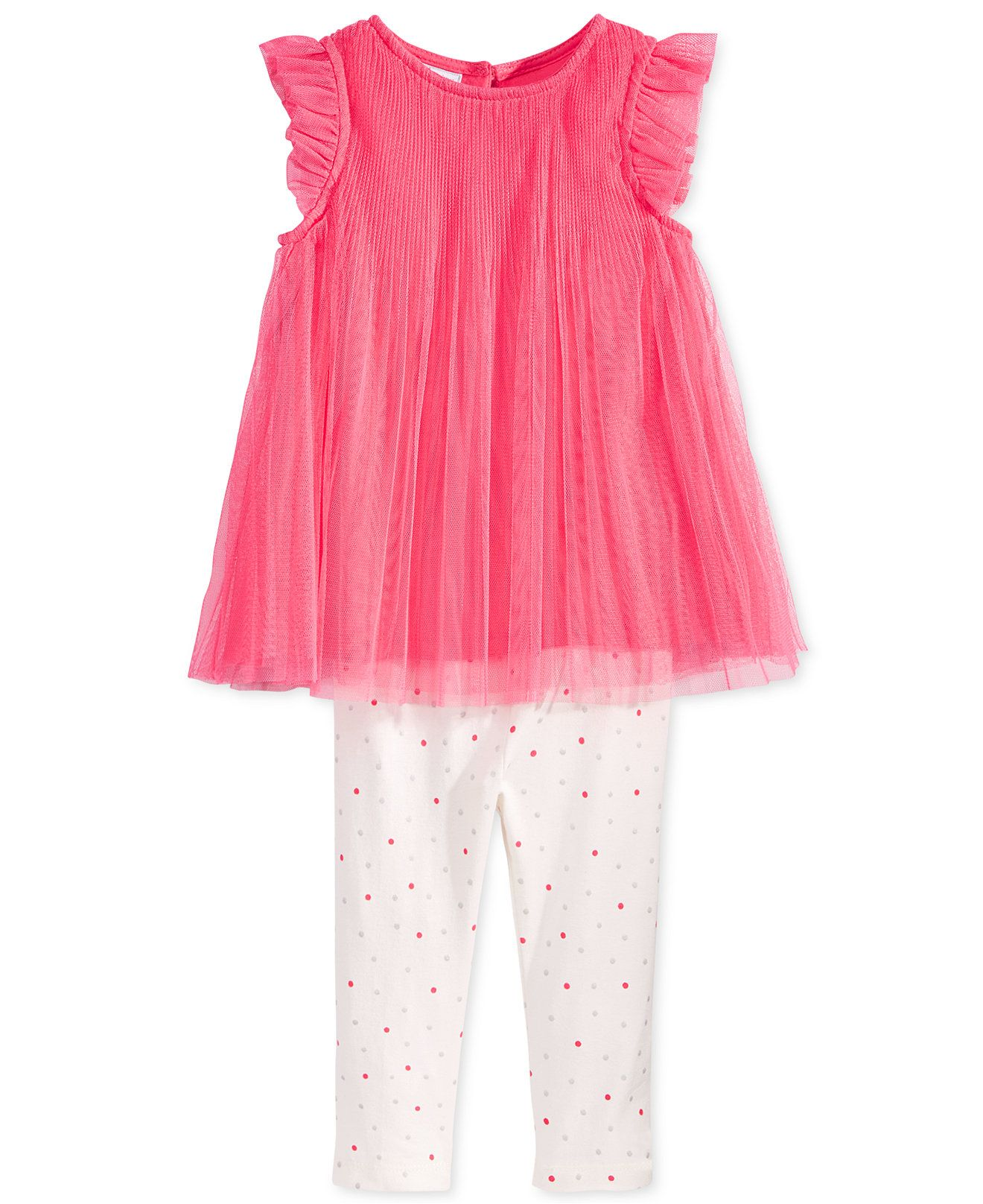 fd53b4d85a5d3 First Impressions Baby Girls' 2-Pc. Pleated Tulle Tunic & Dot-Print Leggings  Set, Only at Macy's - Baby Girl (0-24 months) - Kids & Baby - Macy's