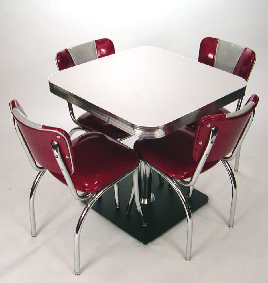 Retro Style Kitchen Table Inspiring Dining Design With Square Tabletop On Chrome Pedestal And
