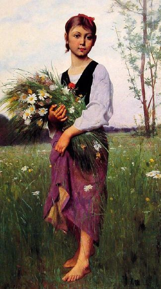 The Flower Picker François Alfred Delobbe (1835 – 1920, French)