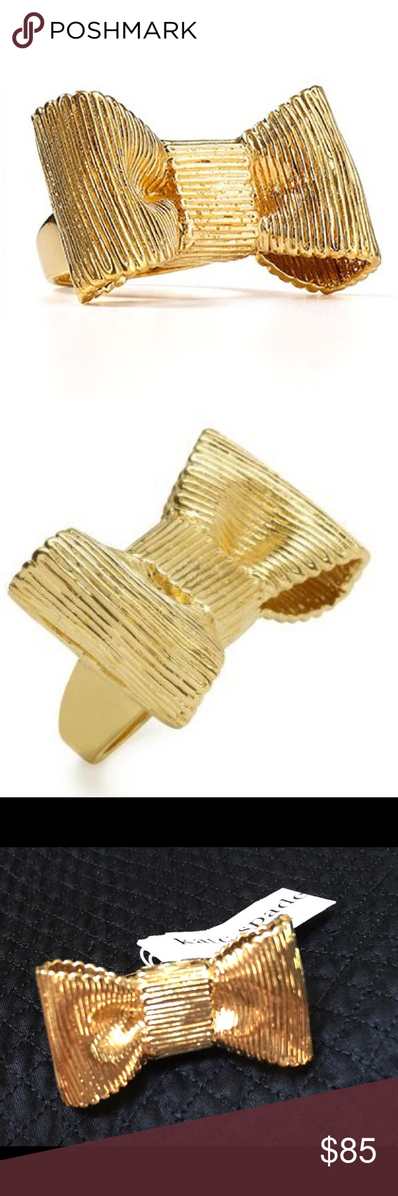 """Kate Spade All Wrapped Up Ribbon Bow Ring, 6 Gorgeous Kate Spade 'All Wrapped Up' Ribbon Ring.  * NWT (please note the tag has fold crease in it) * Gold plated Base * 1.5"""" Diameter * 1"""" height * 1.5"""" Width * Ring size 6 kate spade Jewelry Rings"""