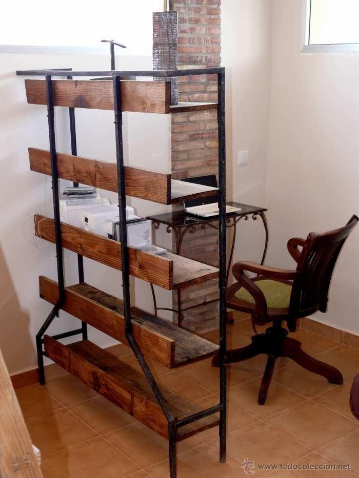 Estanteria madera y hierro google search muebles - Muebles hierro y madera ...