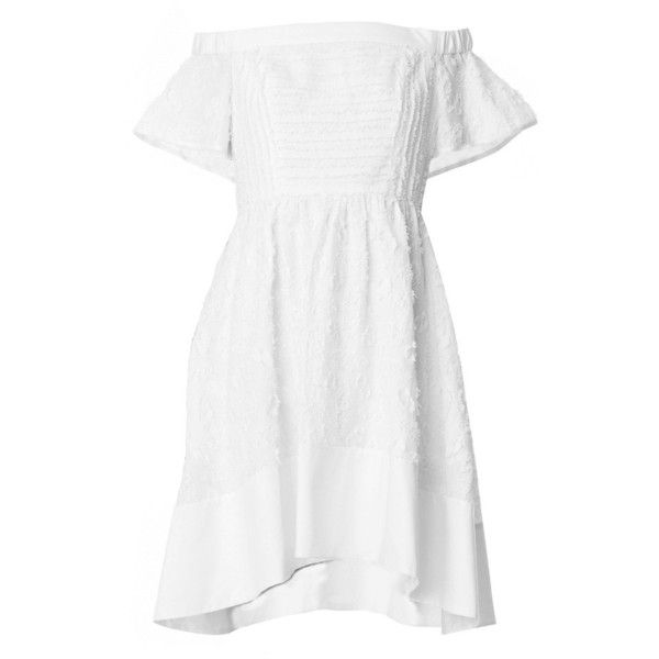 TIBI Sakura Fil Coupe Off-the-Shoulder Dress (€435) ❤ liked on Polyvore featuring dresses, white, white off shoulder dress, white fit and flare dress, textured dress, off shoulder dress y tibi dresses