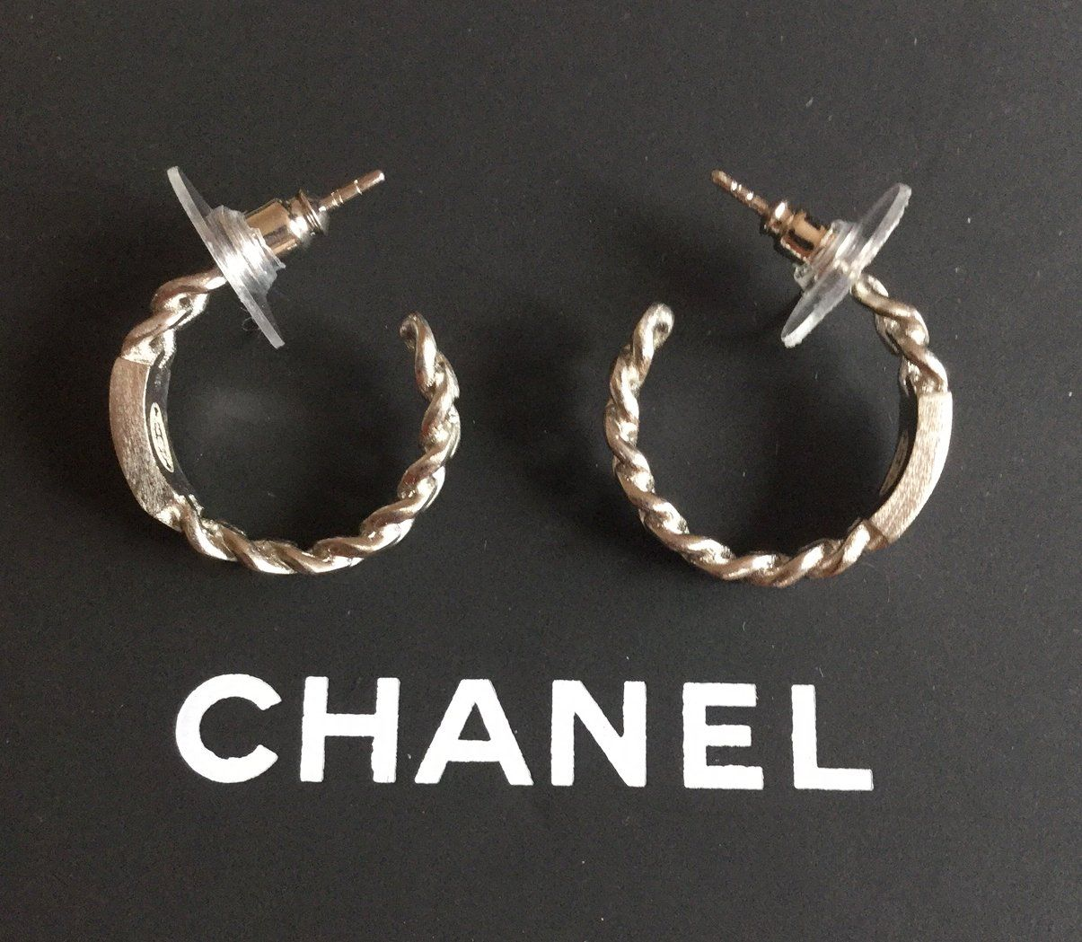 Chanel Small Hoop Chain Earrings 2017 Braided Silver Cc Logo Hallmark Authentic