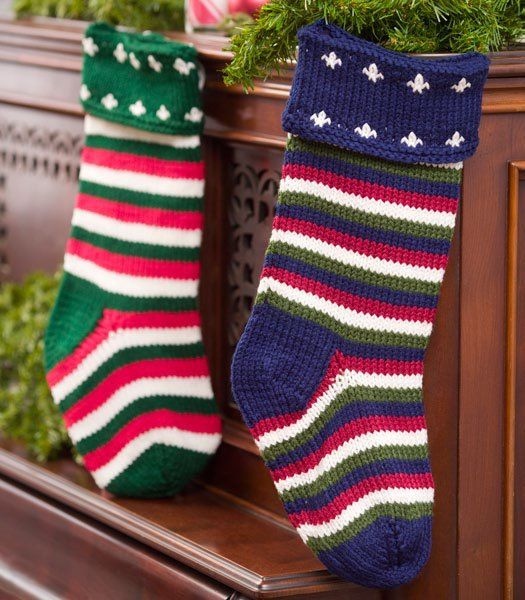 Striped Christmas Stockings Stockings Knitting Patterns Free And