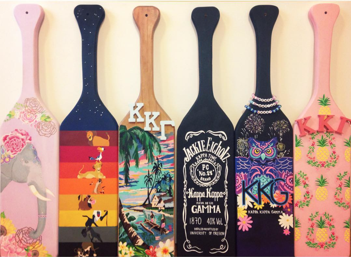 Six Custom Painted Paddles By The Paddle Co Each One Was Hand Painted For A Theme Requested By The Customer Gamma Phi Crafts Alpha Phi Crafts Sorority Crafts