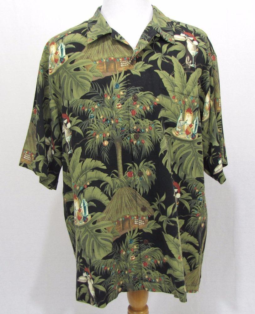 1244f0c7 Tommy Bahama Christmas Shirt Large Santa's Holiday Workshop Toucan Silk  Camp #TommyBahama #Hawaiian