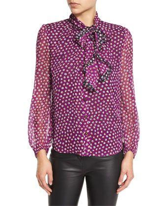 Havanah Bow-Neck Silk Blouse, Pirouette Dot by Diane von Furstenberg at Neiman Marcus.