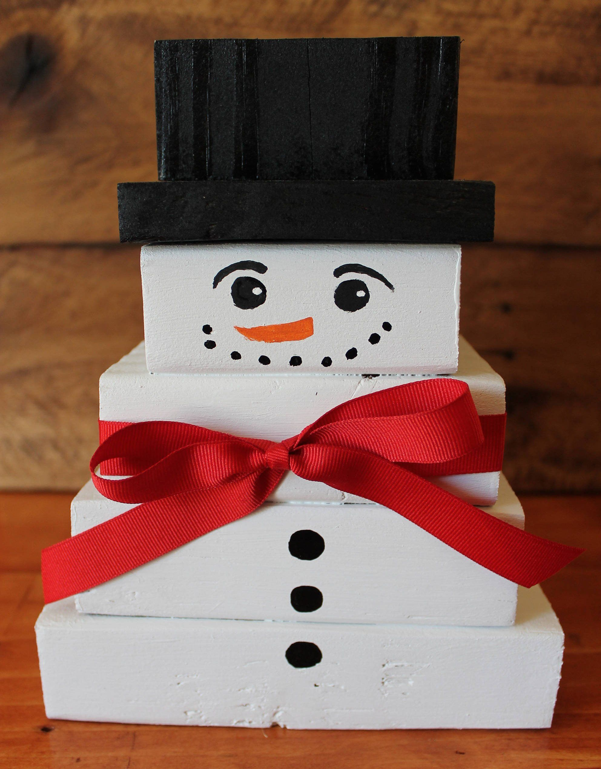 Wood Block Snowman For Tabletop, Shelf, Mantle, Christmas Decorating, Etc
