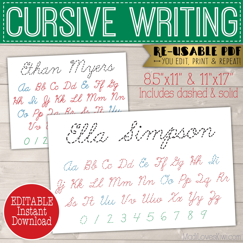 Cursive Name Writing Worksheet Printable Handwriting Etsy In 2020 Preschool Journals Cursive Busy Book